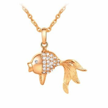 2017 Women Crystal Gold Fish Style Pendant Necklaces  Lovely  Austrian Link chain Jewelry