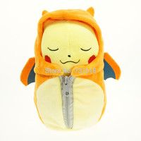 Lovely Pokemon Center Orange Close Eyes 8''&12'' Pikachu in Lizardon Sleeping Bag Plush Doll Toys