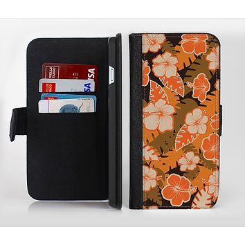The Orange & Black Hawaiian Floral Pattern V4 Ink-Fuzed Leather Folding Wallet Credit-Card Case for the Apple iPhone 6/6s, 6/6s Plus, 5/5s and 5c