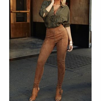 Solid color pants high waist trousers fashion tight trousers