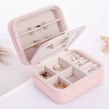 Lelady Jewelry  Box Portable Travel Jewelry Case with Mirror Gift Box