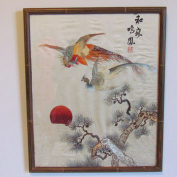 Framed Bird Art Silk Embroidery Japanese Wall Art Vintage Embroidery