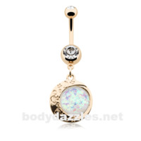 Golden Eclipse Sun Opal Moon Belly Button Ring 14ga Navel Ring