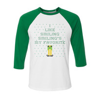 Elf Smiling's My Favorite Ugly Christmas Sweater Baseball Tee