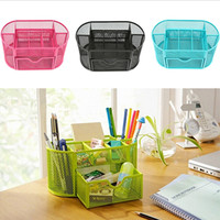 Hot selling Multifuction Desk Organizer 9 Cells Metal Black Mesh Desktop Office school home Pen Pencil Holder Free Shipping