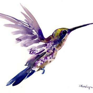 Hummingbird art, minimalist art, Flying hummingbird, purple, painting, watercolor, original painting, hummingbird gift tropical design