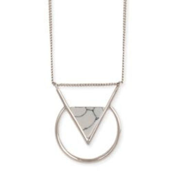 Silver Circle & White Stone Triangle Necklace