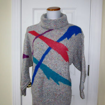 Vintage 80s Turtleneck Sweater Colorful Grey Tweed Knit Sweater Lilly of California Womens Medium Ladies Turtleneck
