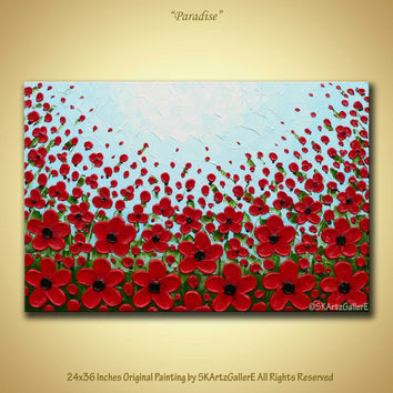 Red poppy flowers original artwork Modern landscape large canvas art 3D Red flowers Acrylic wall painting 24x36 Home art decor Contemporary