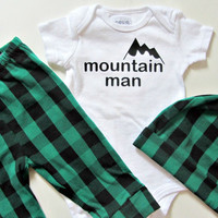 Baby Boy Clothes Baby Shower Boy Gift Funny Baby Gift Plaid Leggings Lumberjack Mustache