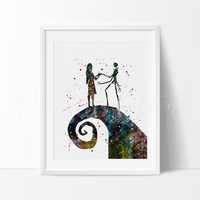 Jack Skellington and Sally 2 Watercolor Art Print