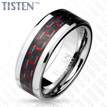 8mm Black and Red Carbon Fiber Inlay Tisten (Tungsten+Titanium) Men's Ring