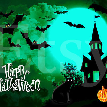 6x Foldable 5x7 DIY Halloween Card Birthday Invitation Party 31 October Elements for PHOTOSHOP