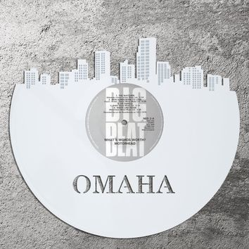 Vinyl Record - Omaha Record Skyline, Vinyl Record Art, Recycled Vinyl Record Wall Art,  Home Decor Ideas, Nebraska Wall Decor, Vinyl Record