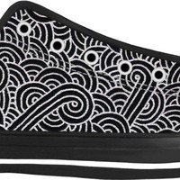 Faux silver and black swirls doodles Black Low Tops