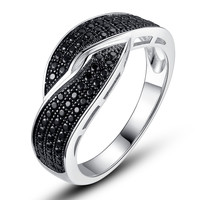 Sterling Silver Crisscross W. Micro Pave Black Cubic Zirconia Ring