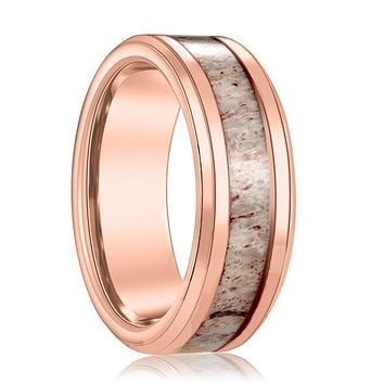 Rose Gold Tungsten Wedding Band w/ Deer Antler Inlay Tungsten Ring Beveled Edge Mens Tungsten Ring