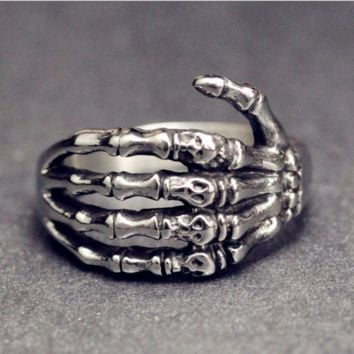 Skeleton hand ring titanium steel European and American men and women couple stainless steel ring