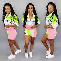 Champion Newest Woman Embroidery Casual Print Short Sleeve Top Shorts Set Two Piece Pink