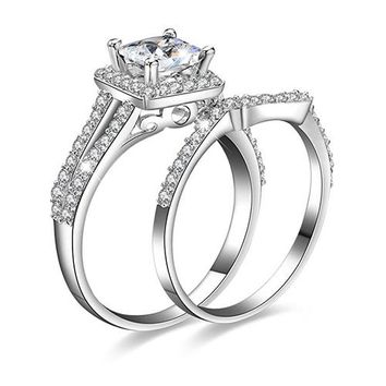 Silver Plated Princess Cut Engagement Wedding Ring Set