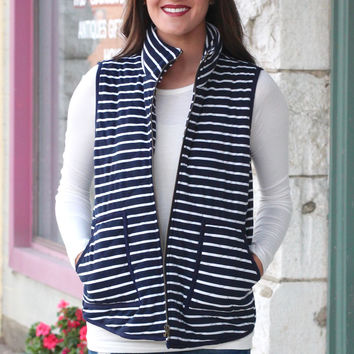 Basic Stripes Quilted Vest {Navy+White}