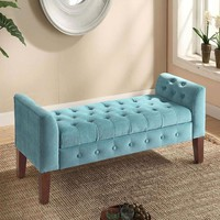 4 x 2 Velvet Blue Bench Ottoman With Built In Storage Seat