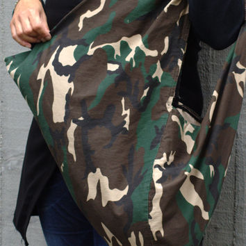 Shopper handmade finished with bias / shopping bag / triangle bag / canvas bag / gift for her / tote bag / boho bag / camouflage