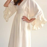 $80.00 Bohemian Hippie Wedding inspired Creamcolored Maxi Dress by SnowMilk