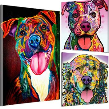 Gorgeous Warm Colorful Dog Oil Painting Watercolor Airbrushing Canvas Frameless Art Living Room Wall Decor