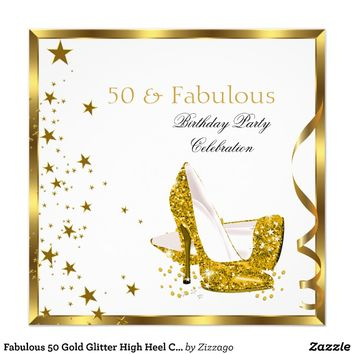 Fabulous 50 Gold Glitter High Heel Champagne 5 from Zazzle.com