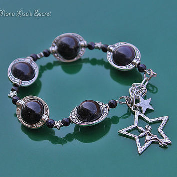 Blue Goldstone Galaxy Bracelet, Star and Fairy Charm Bracelet, Fairy Sitting Inside Star, Blue Goldstone Jewelry, Dark Blue Stone Bracelet