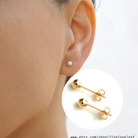 14K Gold ball stud earrings tiny gold studs minimalist everyday jewelry round ball post earrings simple gold dot 3mm 4mm Gift ideas for her