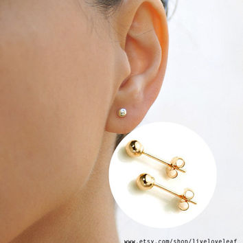 14k Gold Ball Stud Earrings Tiny Studs Minimalist Everyday Jewelry Round Post Simple