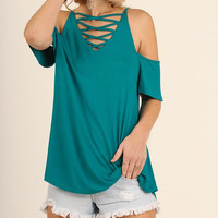 Criss Cross Summer Cold Shoulder Top - Jade