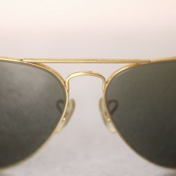 RAY-BAN B&L VINTAGE GOLD COLOURED METAL AVIATOR SUNGLASSES FOR MEN-USED-VERYRARE