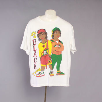 90s It's a Black Thang Cross Colours T-SHIRT / 1990s Oversized Soft White Tee Tshirt xl