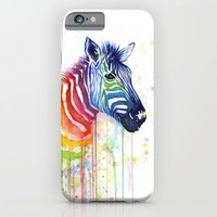 Zebra Rainbow Watercolor iPhone & iPod Case by Olechka