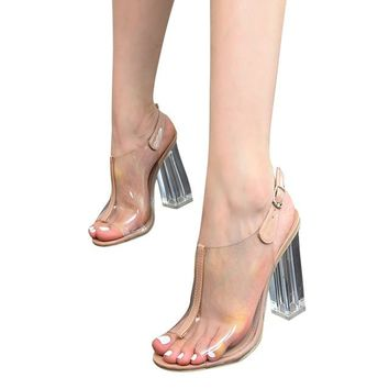 HEE GRAND 2017 Summer Gladiator Sandals Sexy High Heels Fashion Pumps Platform Transparent Shoes