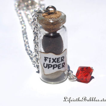 FIXER UPPER Disney's Frozen Mini Trolls in a Bottle with a Blue, Red or Yellow Bead Charm Necklace, by Life is the Bubbles