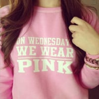 on wednesday we wear pink Pink Sweater Men and Women Plus Thick Velvet Sweater T shirt