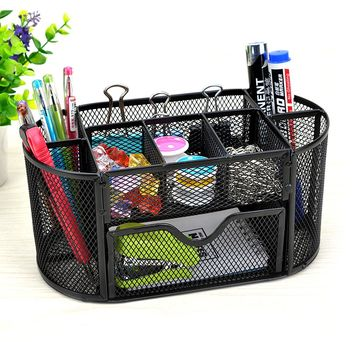 9 Storage Multi-functional Mesh Metal Desk Organizer