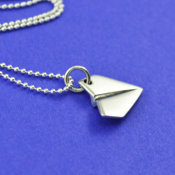 Paper Airplane Necklace in Sterling Silver