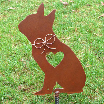 Boston Terrier 2 Dog - Metal Garden Stake - Metal Yard Art - Metal Garden Art - Pet Memorial