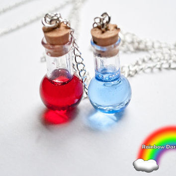 Mana and Health Potion Gift Set of Necklaces by RainbowDarkness