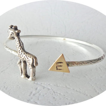 Giraffe cuff personalized bracelet with a triangle wrap style