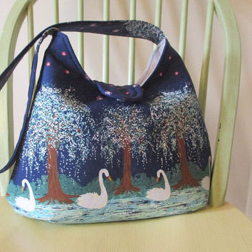 Navy Blue Shoulder Bag , Medium Shoulder Bag ,  Bag With Birds And Trees , Shoulder Bag With Pockets