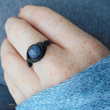 Ring, handmade ring, Sodalite jewelry,wire ring, wire wrapped ring, gemstone ring, bohemian ring, custom ring, healing jewelry, stone ring