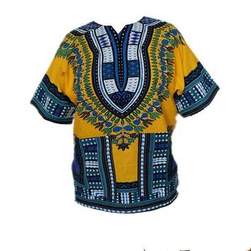 ONETOW African Traditional Print Dress 100% Cotton Dashiki For Men