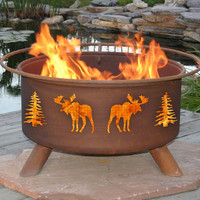 Moose Of The North Rustic Portable Grilling Fire Pit