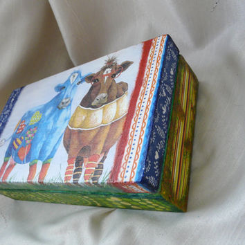 Cow Jewelry Box, Hippie Box, Cow Box, Hippie Hewelry Box, Large Handcrafted Box, Rustic Wooden Box